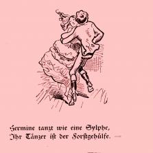 """Die Kirmes ©noten-apitz.de; """"Hermine tanzt wie eine Sylphe, Ihr Tänzer ist der Forstgehilfe.""""; Bildquelle: Wilhelm Busch-Album (Humoristischer Hausschatz, Sammlung der beliebtesten Schriften mit 1500 Bildern)"""