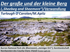 """Der große und der kleine Berg (""""Sheebeg and Sheemore"""")/Verwandlung Turlough O'Carolan/M. Apitz; Burren National Park (An Bhoireann)-""""steiniger Ort""""); Karstlandschaft Nordwesten des County Clare; Irland Sparte: 17.+18. Jh. Konzert"""