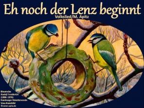 """Eh noch der Lenz Bild: Blaumeisen Kunstbild Bildlegende: Blaumeisen Voss-Kunstbild © noten-apitz.de Bildquelle: Sammelalbum für Voss-Kunstbilder """"Das Tierreich"""", 1932 Hamburger Margarine-Werke"""
