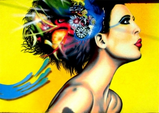 Bild: Traumfrisur Haarstyling als Wandgemälde, Illusionsmalerei Bildlegende: Friseur Elsdorf (Köthen) Styling Eck © noten-apitz.de Bildquelle: Musikverlag Apitz