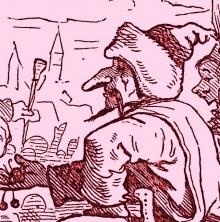 """Hausbuch deutscher Kunst – ein Familienbilderbuch v. Eduard Engels, Deutsche Verlagsanstalt 1907, Bilderbogen """"Die Hussiten von Naumburg"""""""