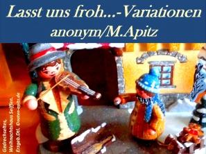 Lasst uns froh… – Variationen, anonym / M. Apitz (Manfred Apitz); Gedrechseltes, Weihnachtshaus, Seiffen, Erzgebirge in Deutschland Sparte: Weihnachten
