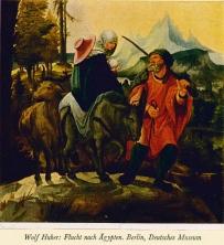 """Wolf Huber / Wolfgang Huber Flucht nach Ägypthen, Berlin ©noten-apitz.de; Bildquelle: """"Die Malerei der Renaissance"""", Herausgeber: Cigaretten-bilderdienst Hamburg-Bahrenfeld, 1938"""