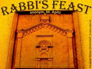 Rabbi's Feast anonym, M. Apitz Bildlegende: Synagoge Köthen (Abbildung Steinrelief)