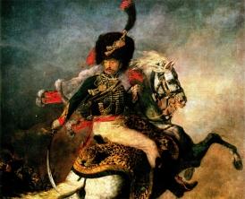 Bild: Jean-Louis André Théodore Géricault Reiteroffizier in Uniform mit Säbel Schlacht (Hintergrund) Bildlegende: T. Géricault Reiteroffizier Louvre © noten-apitz.de