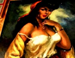 Bild: Spanische Tänzerin Flirt (Blick, Körpersprache) Bildlegende: Spanische Tänzerin, Schausteller Jahrmarkt Köthen Bildquelle: Musikverlag Apitz