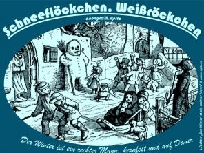 """Schneefloeckchen Bild: Kinder im Winter – zum Gedicht v. Matthias Claudius """"Der Winter ist ein rechter Mann"""" L. Richter Holzschnitt Bildquelle: Ludwig Richter, Die gute Einkehr, Auswahl schönster Holzschnitte mit Sprüchen und Liedern, Herausgeber: Karl Robert Langewiesche, Verlag der """"Blauen Bücher"""", Königstein im Taunus und Leipzig 1919 Bildlegende: L.Richter """"Der Winter ist ein rechter Mann"""" © noten-apitz.de Spruch: Der Winter ist ein fester Mann, kernfest und auf Dauer M. Claudius"""