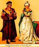 Vornehmer deutscher Bürger und deutsche Frau 1480 ©noten-apitz.de; Bildquelle: Meyers Konversations-Lexikon 4.Auflage 1888 Leipzig Verlag des Bibliographischen Instituts