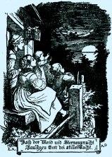 """""""Auch der Mond und Sternenpracht…"""" ©noten-apitz.de; Bildquelle: Ludwig Richter Leben und Werk Herausgegeben v. C. W. Schmidt mit 121 Holzschnitten und 45 Tafelbildern, Deutsche Buchvertriebs- und Verlagsgesellschaft Berlin 1948"""