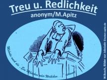 """Treu u. Redlichkeit anonym / M. Apitz (Manfred Apitz); Spruch: """"Melodie auch als """"Ein Mädchen oder Weibchen…"""" bekannt; Wilhelm Busch, Bilder zur Jobsiade Sparte: Deutschland Volkslied"""