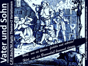 """Vater und Sohn; C. P. E. Bach / M. Apitz; Spruch: """"Hört, wie sie blasen, fiedeln und schrein! Hört, wie der Brummbass brummet darein!""""; Holland Amsterdam Platz: Rembrandtplein / Buttermarkt Rembrandt van Rijn """"Die Nachtwache"""" / De Nachtwacht Denkmal Einzelfigur Allegorie Sparte: 17./18. Jh. (Barock/Galanter Stil)"""
